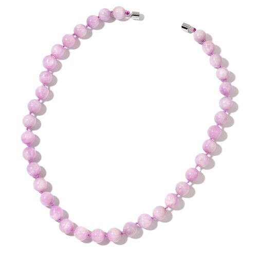 AAA Rare Size Kunzite Ball Bead Necklace (Size 20) with Magnetic Clasp in Rhodium Plated Sterling Silver 476.000 Ct.