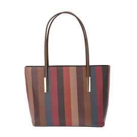 Classic Stripe Pattern Tote Bag with Zipper Closure and External Pocket (Size 32x11x26 Cm) - Brown a