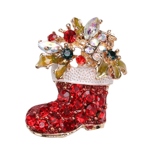 Red and Multi Colour Austrian Crystal Enamelled Christmas Stocking Brooch