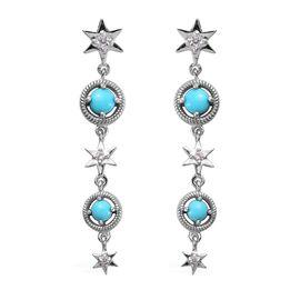 AA Arizona Sleeping Beauty Turquoise (Rnd), Natural Cambodian Zircon Star Dangle Earrings (with Push