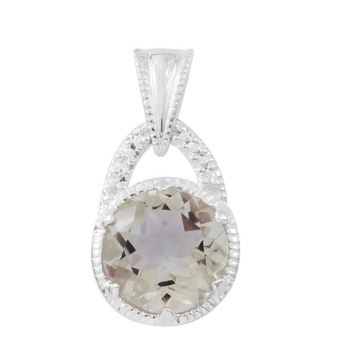Green Amethyst (Rnd) Solitaire Pendant in Sterling Silver 5.850 Ct.