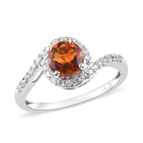 9K White Gold AAA Madeira Citrine and Natural Cambodian Zircon Ring 1.25 Ct.