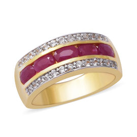 2.38 Ct Burmese Ruby and Zircon Eternity Band Ring in Gold Plated Silver 5 grams