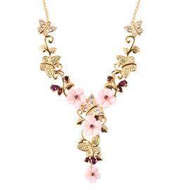 Jardin Collection - Pink Mother of Pearl, Rhodolite Garnet and Multi Gemstone Floral Vine Necklace (