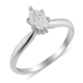 14K White Gold IGL Certified Diamond (Mrq) (I1-I2/G-H) Ring 0.500 Ct.