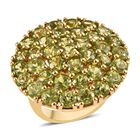 Hebei Peridot (Rnd) Cluster Ring (Size M) in 14K Gold Overlay Sterling Silver 11.150 Ct, Silver wt 9.00 Gms