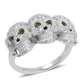 2.82 Ct Russian Diopside and Multi Gemstone Three Skull Ring in Rhodium Plated Silver 6.70 Grams