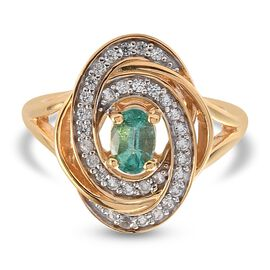 Emerald and Natural Cambodian Zircon Ring in 14K Gold Overlay Sterling Silver