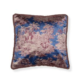 Designers Digitally Printed Silky Velvet Flower and Elephant Cushion Cover with Fringes (Size 43x43c