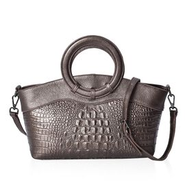100% Genuine Leather Croc Embossed Tote Bag with Detachable Shoulder Strap and Round Handle (Size 37