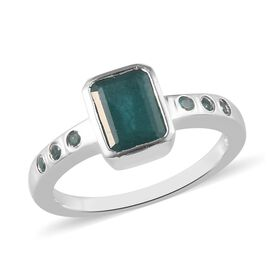 Grandidierite Main Stone With Surrounding Stone Ring in Platinum Overlay Sterling Silver 0.35 ct  1.