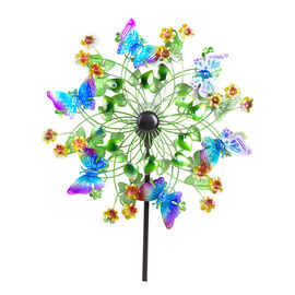 Hand Painted Multi Colour Butterfly Wind Spinner with Solar LED (Size 48.2x20.3x177.8 Cm)