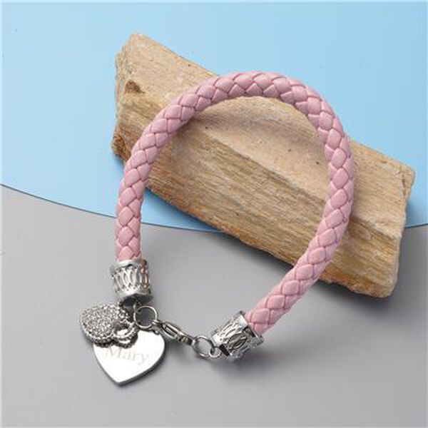 """Personalised Engravable Double Heart and Crystal, Pink Bracelet, Size 8"""" in silver tone"""