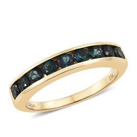 ILIANA 1 Carat Indicolite Half Eternity Ring in 18K Gold 4.29 Grams