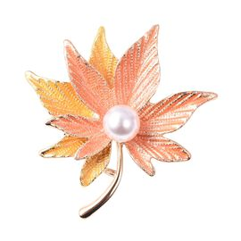 Simulated Pearl (Rnd) Enamelled Maple Leaf Brooch in Yellow Gold Tone