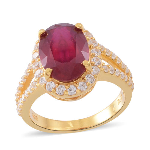 Designer Inspired-African Ruby (Ovl 14x10 mm), Natural White Cambodian Zircon Ring in 14K Gold Overl