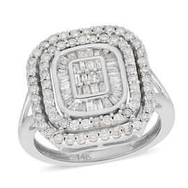14K White Gold SGL Certified Diamond (I1-I2/G-H) Ring 1.00 Ct, Gold wt. 4.80 Gms