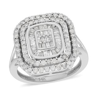 14K White Gold SGL Certified Natural Diamond (I1-I2/G-H) Cluster Ring 1.00 Ct, Gold Wt. 4.80 Gms
