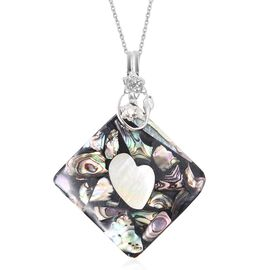 2 Piece Set Abalone Shell and Natural Colour Shell Necklace in Stainless Steel 17.5 Inch