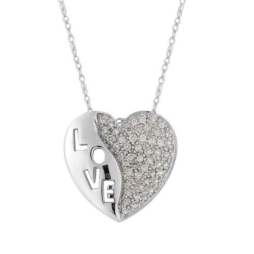 14K White Gold Natural White Diamond Pendant with Chain (Size 18) 0.50 ct, Gold Wt. 4.00 Gms