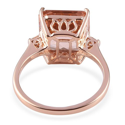 ILIANA 18K Rose Gold Asscher Cut AAA Marropino Morganite and Diamond (SI/G-H) Ring 7.75 Ct.