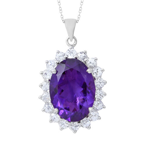 Rare Size Amethyst (Ovl 18x13mm), Natural White Cambodian Zircon Pendant with Chain in Rhodium Plate