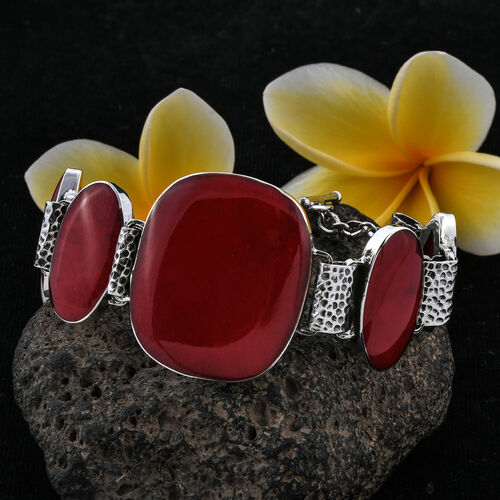 Royal Bali Collection Coral Bracelet (Size 7.5) in Sterling Silver, Silver wt 19.10 Gms.