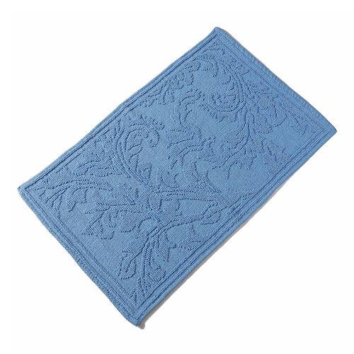 Bath Collection - 100% Cotton Blue Colour Floral Design Sculpted Bath Mat (Size 80X50 Cm)