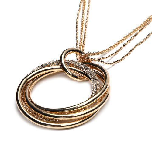 White Austrian Crystal Entwined Circles Pendant with Chain (Size 29 with 2 inch Extender) in Yellow Gold Tone