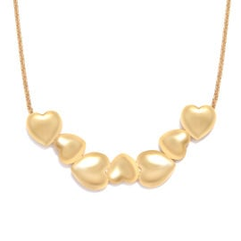 14K Gold Overlay Sterling Silver Heart Necklace with Chain (Size 18), Silver wt 8.60 Gms.