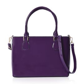 Metallic Cyber Grape Colour Tote Bag with Detachable Shoulder Strap and Zipper Closure (Size 48x24x1