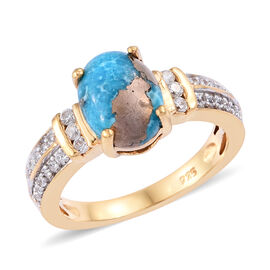 2.25 Ct Persian Turquoise and Cambodian Zircon Solitaire Design Ring in Gold Plated Sterling Silver