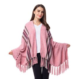 Designer Inspired- Pink Colour Stripe Pattern Scarf (Size 160x75 Cm)