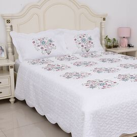 3 Piece Set - Floral Embroidery Microfibre Quilt (Size 260x240cm) and 2 Pillow Case (Size 70x50) - F