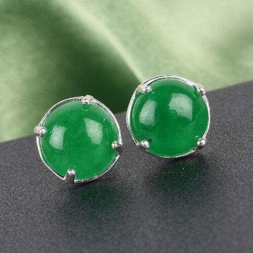 Green Jade Stud Earrings in Sterling Silver 4.00 Ct.