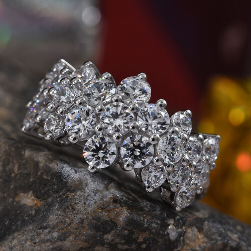 J Francis Platinum Overlay Sterling Silver Cluster Band Ring Made with SWAROVSKI ZIRCONIA 4.05 Ct.