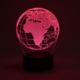 3D Optical Illusion Colour Changing Lamp with USB Cable - Globe (Size 17.6x14.1 Cm) - Globe