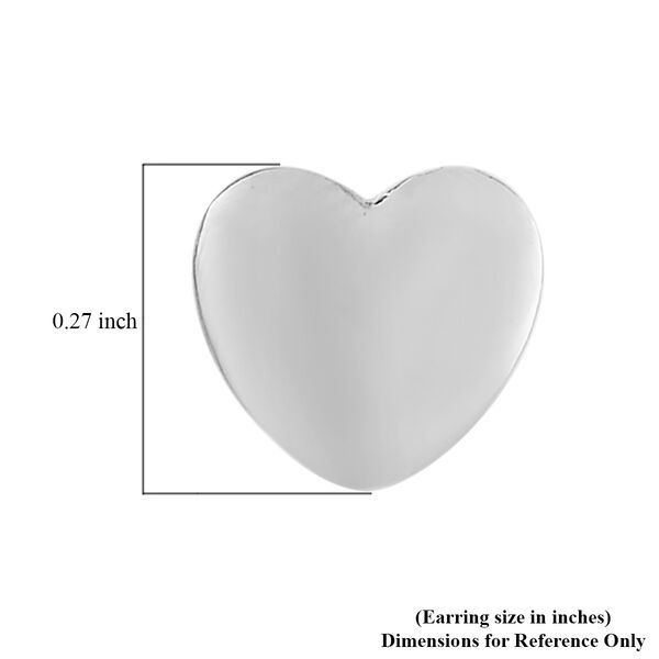 Platinum Overlay Sterling Silver Heart Stud Earrings (with Push Back)