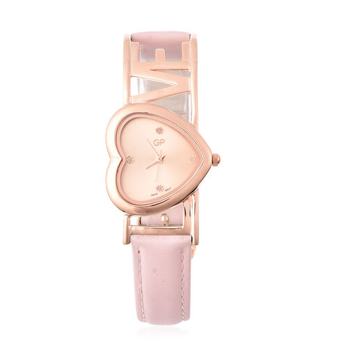 GP Diamond and Blue Sapphire Studded Swiss Movement Water Resistant Watch in Rose Gold Overlay Sterl
