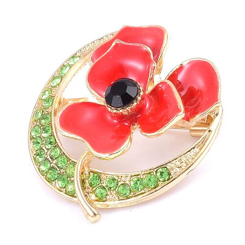Austrian Green and Black Crystal (Rnd) Flower Brooch with Enameled in Gold Tone.