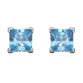 ELANZA Simulated Aquamarine (Sqr) Stud Earrings (with Push Back) in Rhodium Overlay Sterling Silver