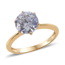 J Francis Made with Swarovski Zirconia Solitaire Ring in 9K Gold 1.76 Grams