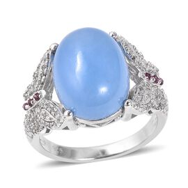 12.18 Ct Blue Jade and Multi Gemstone Butterfly Ring in Sterling Silver 5.08 Grams