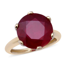 One Time Deal- 9K Yellow Gold AAA African Ruby Solitaire Ring 9.35 Ct.
