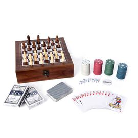 Games Set in Folding Checkerboard Box (includes 32 Chess Pieces, 2 Decks of Cards, 5 Dice and 101 Ch