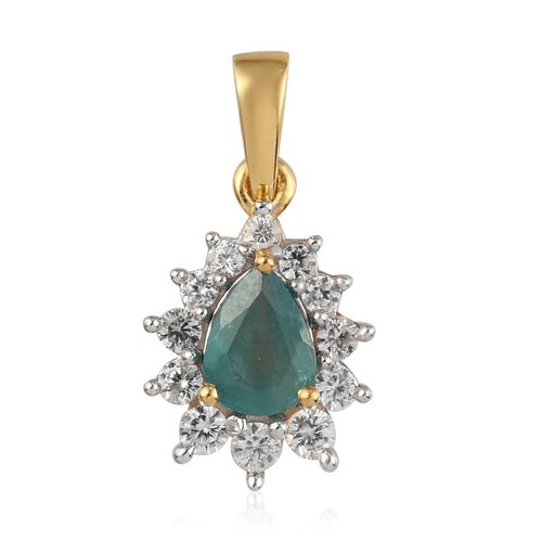 AAA Grandidierite and Natural Cambodian Zircon Halo Pendant in 14K Gold Overlay Sterling Silver 1.24