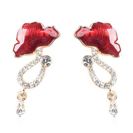 TJC Poppy Design - White Austrian Crystal Enamelled Poppy Earrings (with Push Back) in Gold Tone