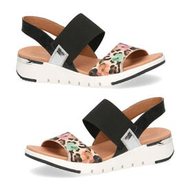 Caprice Floral Detailing Open-toe Sandals in Leo and Black