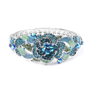 'Multi Colour Austrian Crystal Enamelled Bangle (size 6.50) In Silver Tone