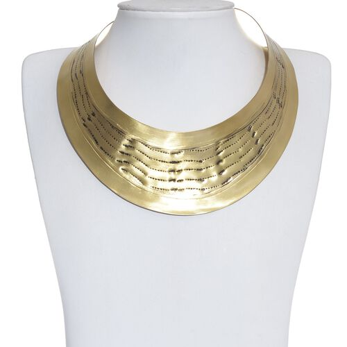 Jewels of India Wave Embossed Collar and Cuff Bangle